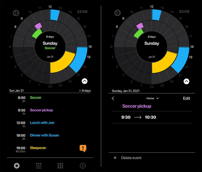 See Your Schedule at a glance and quickly access event details PiCal Calendar App